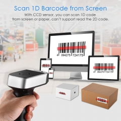 Eyoyo Wireless Barcode Scanner, Compatible with Bluetooth Function & 2.4GHz Wireless & Wired Connection CCD Bar Code Reader for iPad, iPhone, Android Phones, Tablets or Computers, PC with USB Receiver