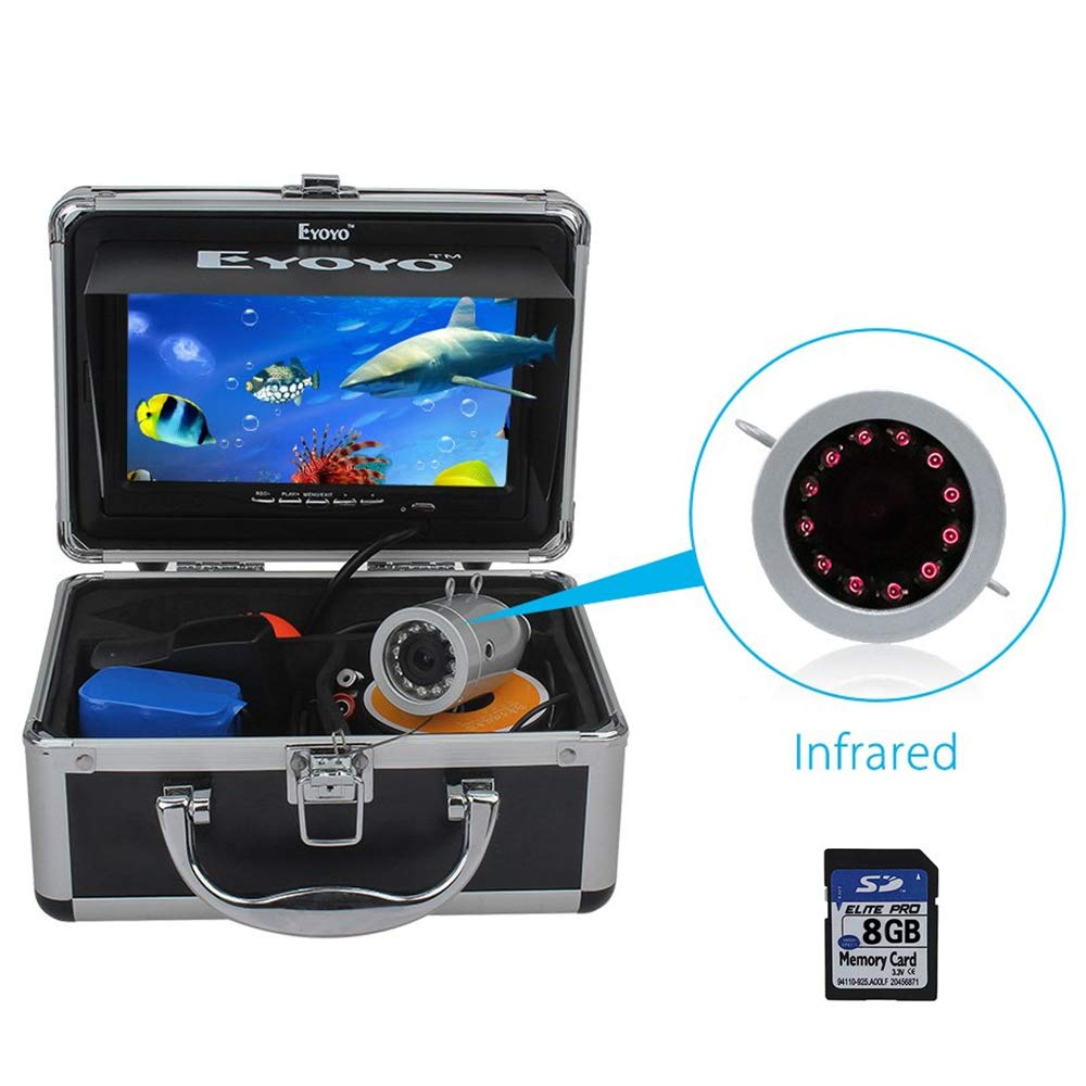 Eyoyo Portable 7 inch LCD Monitor Fish Finder Waterproof Underwater 1000TVL Fishing Camera (7 inch Infrared Lights(30m) + DVR)